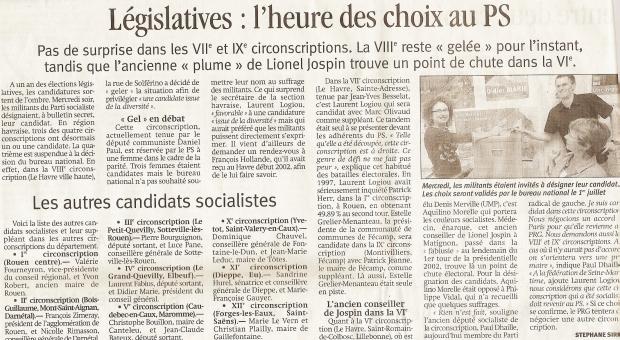 Article vote législative interne - le Havre libre du 22-06-2006
