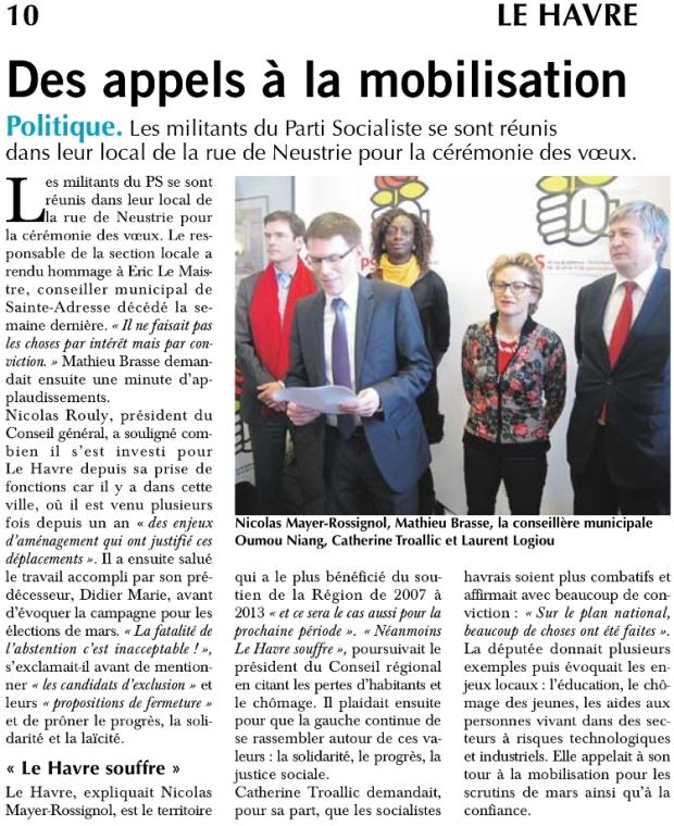 Des appels à la mobilistation - Le Havre Libre du 24-01-2015