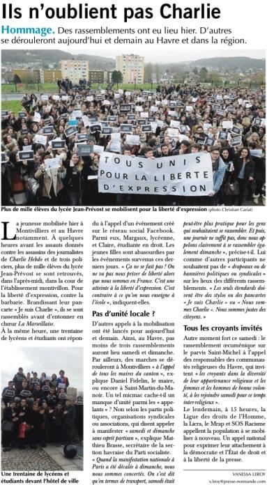 Ils n'oublient pas Charlie - Le Havre Libre du 10-01-2015