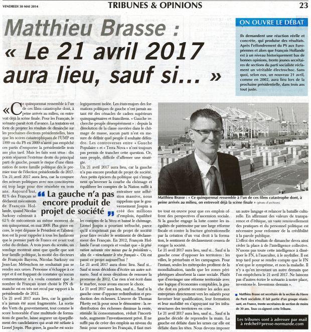 Matthieu Brasse Le 21 avril 2017 aura lieu, sauf si... Paris-Normandie du 30-05-2014