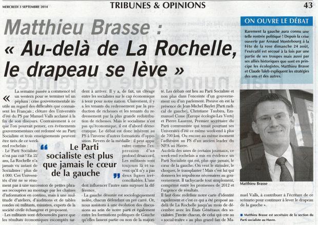Tribune M.Brasse - Au-delà de La Rochelle, le drapeau se lève - Paris-Normandie du 03-09-2014