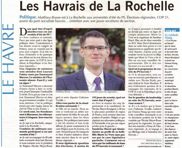 Les Havrais de La Rochelle - Paris-Normandie du 29-08-2015