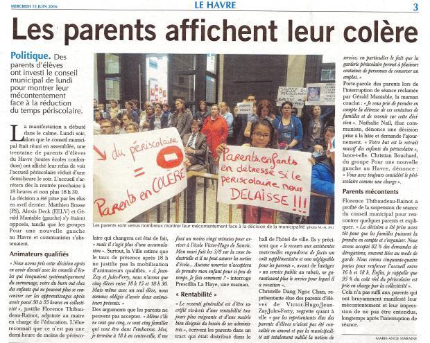 Les parents affichent leur colère - Paris-Normandie Le Havre du 15-06-2016